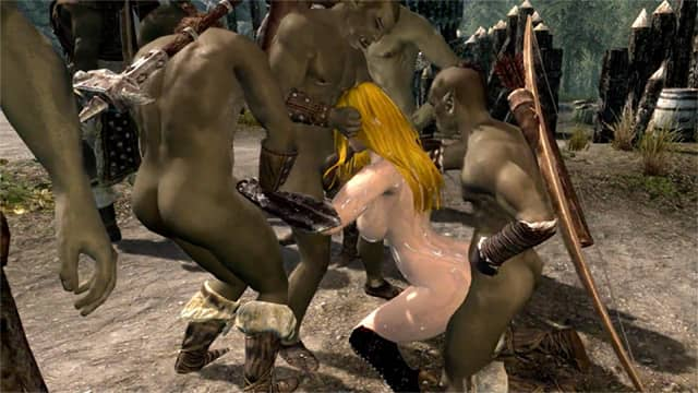Caitlyn is defeated and gets into a non-stop orc gangbang
