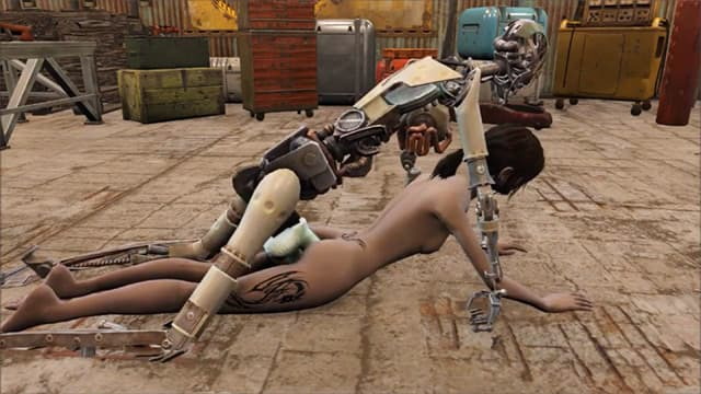 Fallout brunette fucked by fucking robot machine